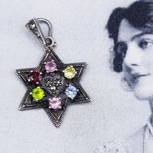 Vintage Sterling Marcasite Star of David Pendant